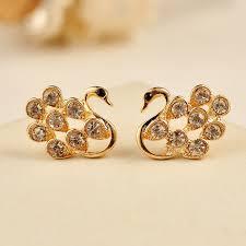gold stud earrings for women lovely gold plated alloy gem cygnet stud earring stud earrings