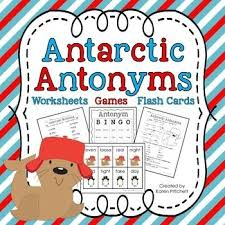antarctic antonyms worksheets games and flashcards bingo