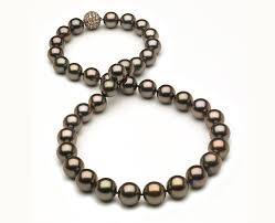 pearl necklace diamonds images 10 x 12 2mm tahitian pearl necklace with brown diamonds american jpg