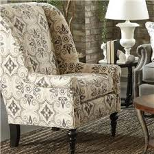 Printed Accent Chair Accent Chairs Traditional Chair With Modified Wing Back By Cozy