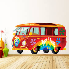 volkswagen van hippie red vw campervan wall sticker hippy peace cars wall decal fun