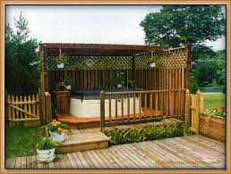 Privacy Pergola Ideas by Above Ground Tub On Deck With Pergola Plus Tall Fence And