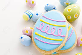 Easter Icing Decorations by Easter Cookies In Shape Of Egg Decorated With Blue Icing Stock