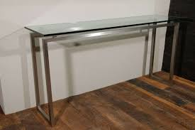 Metal Console Table Glass Metal Console Table Brushed Metals Tables With Glassed Top 9