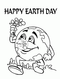 cute earth earth day coloring page for kids coloring pages