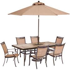 Patio Dining Set With Umbrella Hanover Fontana 7 Aluminum Rectangular Outdoor Dining Set