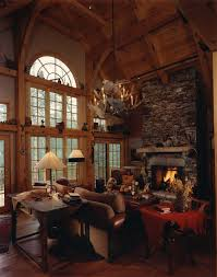 Rustic Livingroom by Exterior Design Unique Chandelier With Fireplace Design And Table