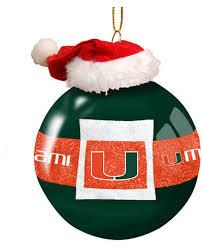 memory company miami hurricanes glass santa belt ornament sports
