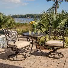 Aluminum Patio Furniture Set by Shop Hanover Outdoor Furniture Traditions 3 Piece Bronze Aluminum