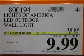 Costco Sale Lights Of America Led Outdoor Wall Light 9 99
