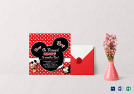 cute mickey mouse birthday invitation design template psd word