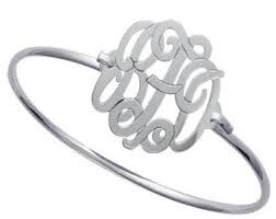 sterling silver monogram bracelet monogrammed bangle etsy