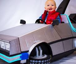 tiny marty mcfly and his delorean push car stroller halloween