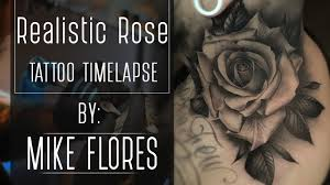 realistic neck rose tattoo time lapse youtube mike flores youtube