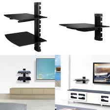Wall Mounted Dvd Shelves 2 Tier Floating Shelves Wall Mount Tempered Glass For Tv