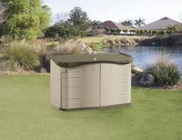 Rubbermaid Garden Tool Storage Shed by Rubbermaid Outdoor Split Lid Storage Shed 18 Cu Ft Olive