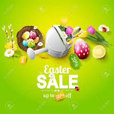 easter eggs sale easter sale flyer with flowers easter eggs and watering can
