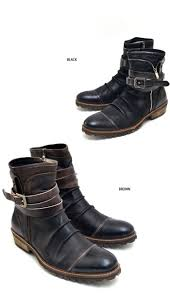 zipper motorcycle boots shoes vintage belted wrinkle biker boots shoes 382 guylook