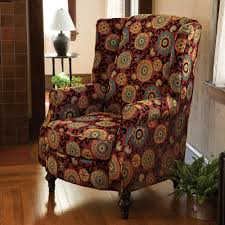Wing Chair Slipcover Pattern Furniture How To Reupholster A Wingback Chair With Colorful