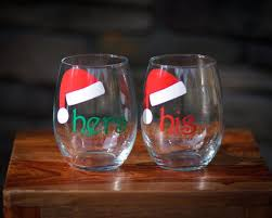 his hers wine glasses mr and mrs stemless wine glasses 2 with santa hats
