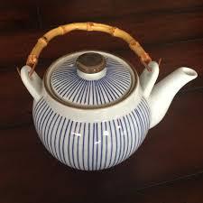 blue striped porcelain teapot japanese teapot bamboo handled