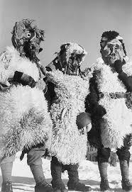vintage masks carnival switzerland villagers wearing tschaggatta masks at the