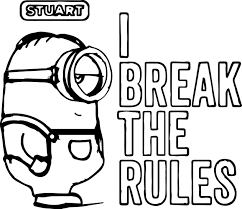 minion stuart break rules coloring wecoloringpage