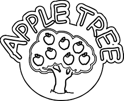 apple tree text and tree coloring page wecoloringpage