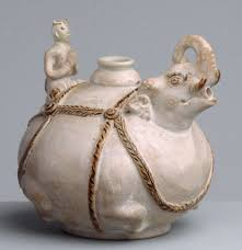 elephant vase ceramic vessel in the form of an elephant and rider work of art