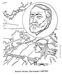 free printable coloring pages of us presidents benjamin harrison us president coloring pages gilded age 1881