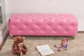 baxton studio stella crystal tufted pink leather modern bench