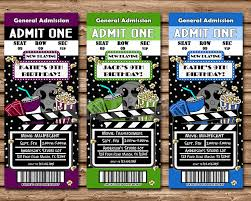 movie night party ticket invitations multiple colors u2014 party