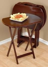 Folding Tray Table Set Walnut Finish 5 Pc Wooden Tray Table Set Folding Portable Stand Tv