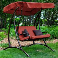 Outdoor Swing With Canopy Patio Swing Sets With Canopy 2 Person Seater Brown Finish Fabric