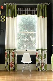 Green Color Curtains Living Room White And Green Color Block Pinch Pleat Drapery