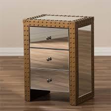 baxton studio azura 3 drawer mirrored nightstand in silver ld2470 1