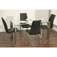 chair helen black glass extending dining table and 4 or 6 chairs