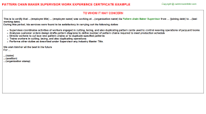 pattern chain maker supervisor work experience certificate
