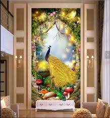 golden wall mural promotion shop for promotional golden wall mural wdbh custom mural 3d wallpaper fairy tale golden peacock porch decoration painting 3d wall murals wallpaper for living room