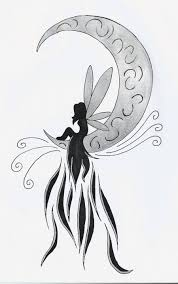 wonderful fairy on half moon tattoo design