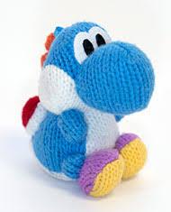 light blue yarn yoshi amiibo figure for nintendo 3ds gamestop