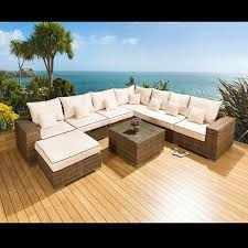 Rattan Table L Luxury Outdoor Garden L Shape Corner Sofa Set Brown Rattan