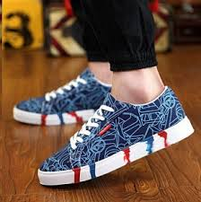 blue patterned shoes new men shoes spring autumn casual printed canvas shoes men s