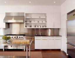 white kitchen with stainless steel backsplash collection picture