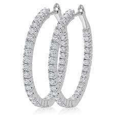 diamond earrings nz inside out hinged diamond hoop earring set in 14k white gold 1 07ct