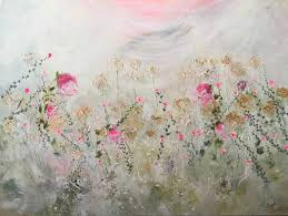 saatchi art secret garden abstract fl pink flowers painting