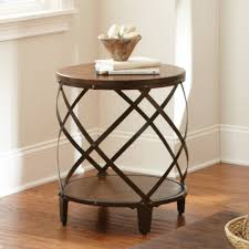 round distressed end table steve silver winston round distressed tobacco wood and metal end