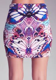 bebe printed mini scuba skirt lyst