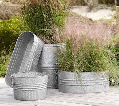Corrugated Metal Planters by Eclectic Galvanized Metal Planters Pottery Barn