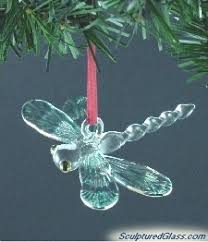 sculptured glass dragonfly tree ornament dragonfly